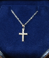 Christening Fine Jewelry Necklace Diamond Cross in White 14k