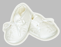 Boys Christening Shoes Fine Silk Ivory Baptism Booties size 2