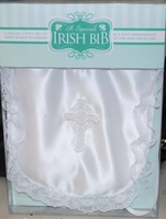 Girls Christening Bib White Satin Celtic Cross