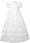 Girls Christening Gown 100% Cotton Smocked Traditional Fancy