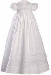 Girls Christening Gown Cotton Smocked