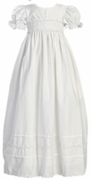 A Girls Christening Gown White Cotton Classic Marie