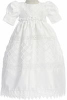 Christening Gown Girls Satin White Shantung Lattice Set