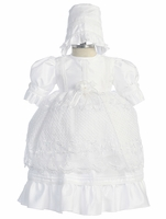 Christening Gown Girls Satin White Shantung Princess Set