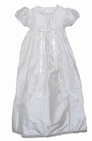 A Girls Christening Gown Silk and Pearls Princess Style