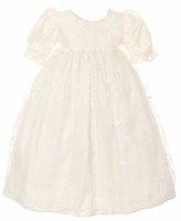 A Christening Gown Girls Silk & Lace Vintage Heirloom Dress