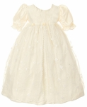Christening Day Gown Silk & Lace Vintage Heirloom Ivory 18/24 months
