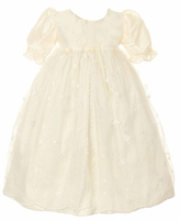 Christening Gown Girls Silk & Lace Vintage Heirloom Dress Ivory