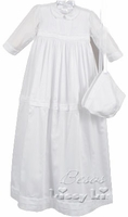 Girls Christening Gown Convertible Fine 100% Cotton 3-6m