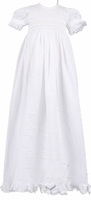 A Girls Christening Gown Fine White Cotton Extra-long Heirloom