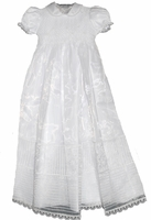 A Girls Christening Gown Smocked Cotton & Organza Overlay