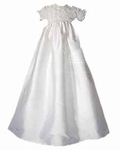 Girls Christening Gown Silk Rossettes