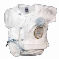 Boys Christening Outfit Baby Heirloom Fine Knit Baptism Newborn Set