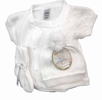 Unisex Christening Outfit Baby Heirloom Fine White Cotton Knit Set