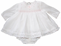 Girls Christening Dress Infant Smocked Pink Details Baptism Set 12 months