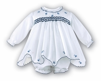 Girls Christening Dress Infant Smocked Navy Details Baptism Set