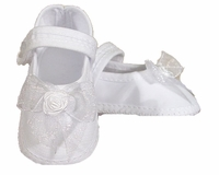Girls Christening Shoes Baby White Organza Bow Infant Bootie