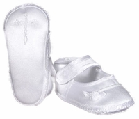 Girls Christening Shoes Baby Satin Infant Embroidered Cross Booties