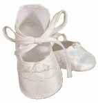 Girls Christening Shoes Baby Fine Silk Infant Tie Bootie