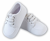 Christening Infant Shoe White Cotton Lace up size 3