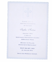 Christening Invitiation Blue Cross Card
