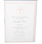 Christening Invitiation Pink Cross Card