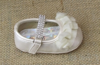 Christening Ivory Ballet Slipper with Ruffles and Diamonds