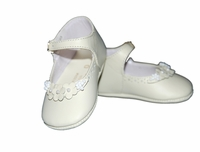 Girls Christening Shoes Baby Ivory Leather Baptism Crib Shoe