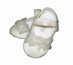 Girls Christening Shoes Ivory Satin and Lambskin Infant Slipper Booties