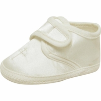 Boys Christening Shoes Baby Ivory Satin CrossInfant Bootie size 0