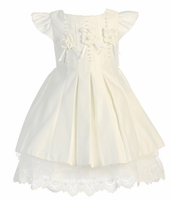 Girls Christening Dress Ivory Sateen and French Lace