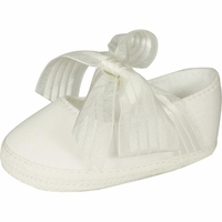 Girls Christening Shoe Baby Ivory Satin Satin Infant Booties
