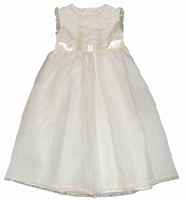 Girls Christening Dress Ivory Silk Organza and Lace