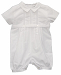 Boys Christening Outfit and Hat Pintuck Romper 3-6 months