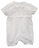 Boys Christening Outfit and Hat Pintuck Romper