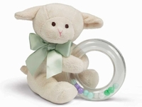 Christening Keepsake Plush Lamby Ring Rattle