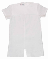 Boys Christening Outfit Linen Square Collar Baptism Shortalls
