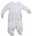 Boys Christening Outfits White Longall Baptism Coverall Set