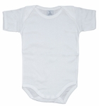 Unisex Christening Bodysuit Onesie White Simple Sleeves