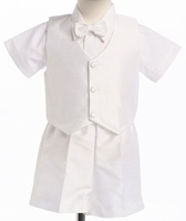 Boys Christening Oufits Toddler White Poly Silk Shorts Set