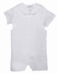 Boys Christening Outfit White Linen Baptism Overall Shortall 4T