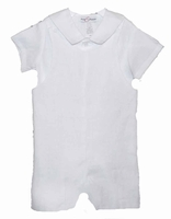 A Boys Christening Outfit White Linen Baptism Overall Shortall 4T