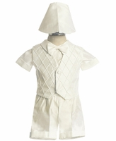 Christening Outfit Boys Ivory Satin Fancy Shorts Set