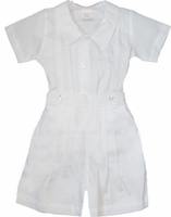 Boys Christening Outfit White Cotton Bobby-Suit Shortall