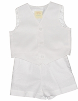 Big Boys Christening Outfit Linen 2-Piece Vest Set