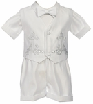 Boys Christening Outfit Satin Fancy Shorts Set