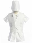 Christening Outfit Boys White Satin Fancy Shorts Set