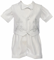 Boys Christening Outfit Satin Fancy Shorts Set 2T