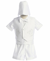 Boys Christening Outfit White Satin Fancy Shorts Set