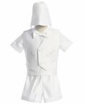 Christening Outfit Boys White Satin Suit Fancy Shorts Set